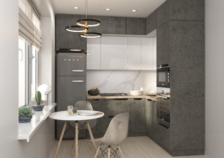 Кухня «НЭРО»/«ТРЕНТ» (цвет - алькорен бетон/белый глянец)