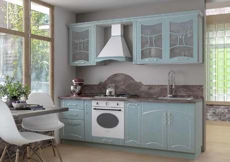 Кухня «САН-МАРИНО АРГЕНТО» (роял вуд голубой, патина серебро)