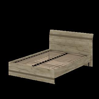 Кровать «АСТИ» двуспальная 1400 (цвет - дуб серый Craft, Базальт)