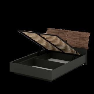 Кровать «АСТИ» двуспальная с подъемным механизмом 1600 (цвет - Антрацит, Дуб Эрле)