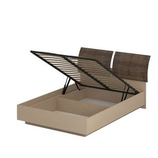 Кровать «АСТИ» двуспальная с подъемным механизмом 1400 (цвет - Макиато, Старое дерево)