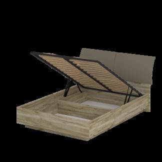 Кровать «АСТИ» двуспальная с подъемным механизмом 1400 (цвет - дуб серый Craft, Базальт)