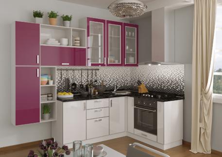 Кухня «БРИСТОЛЬ» (цвет - белая луна, фуксия)