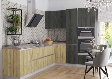 Кухня «СИТИ» (цвет - дуб грэндсан, серый камень)