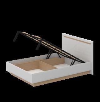 Кровать «СТОКГОЛЬМ» двуспальная с подъемным механизмом 1400 (цвет - Белый глянец, Бук)