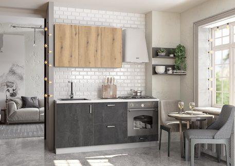 Кухня «БОСТОН» (цвет —угольный камень, дуб эвок прибрежный )