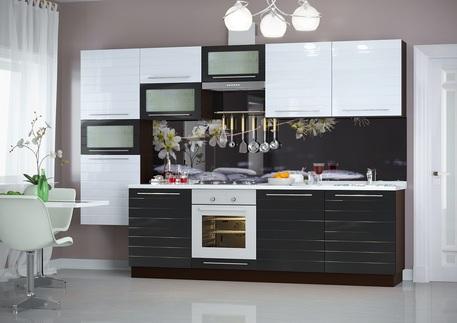 Кухня «ЛАЙФ» (цвет - черный глянец, белый глянец)