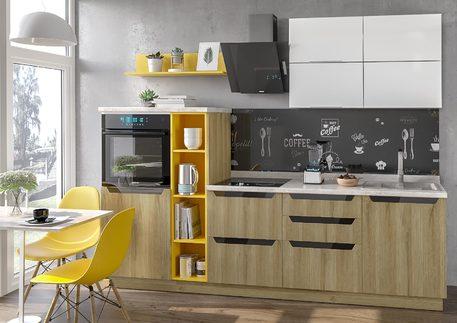 Кухня «НЭРО» (цвет - дуб грэндсан, белый глянец)