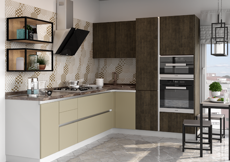 Кухня «СИТИ» (цвет фасада - оливин, санса)