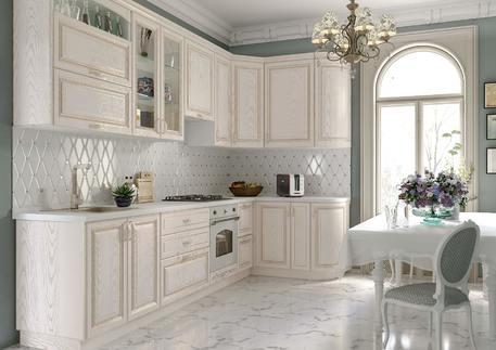 Кухня «ПАЛЕРМО» (роял вуд белый, патина золото)