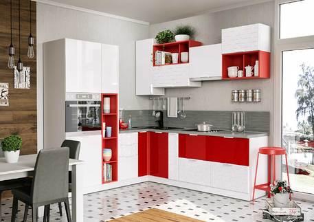 Кухня «РУБИС» (цвет - белый глянец, красный глянец)