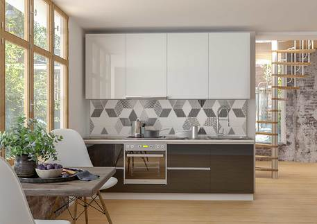 Кухня «СИТИ-СТЕКЛО» (стекло белая эмаль, черная эмаль)